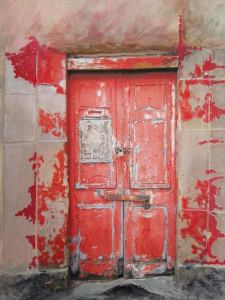 Red and beige door
